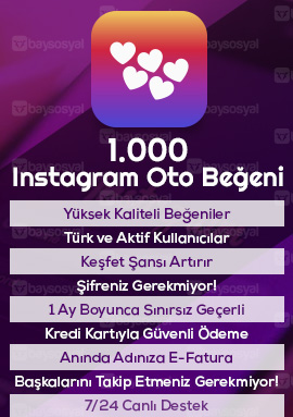 1000 instagram otomatik beğeni