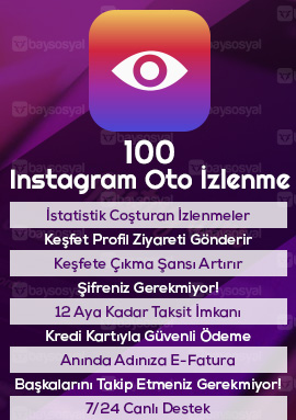 100 instagram otomatik video izlenme satın al