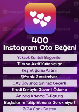 400 instagram otomatik beğeni satın al