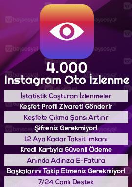 4.000 instagram otomatik video izlenme satın al